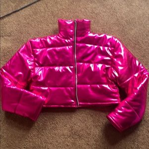 Pink metallic crop jacket size small